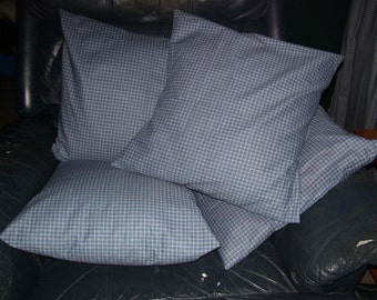 Set of Four Blue Plaid Pillow Covers