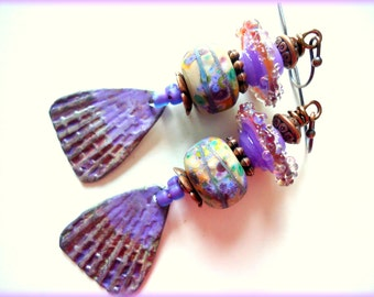 Lilac Earrings, Artisan Earrings, Inviciti Charms, Artisan Lampwork, Boho, Urban, Funky, Chic, Sea Shells