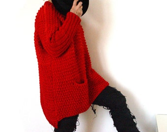 Textured Red Sweater.