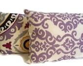 Purple Pillow Cover Lavender Suzani Pillow Damask Reversible Decorative Pillow Cover Black Gray Plum
