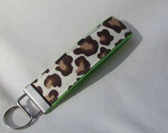Keyfob wristlet / key chain /leopard print /fabric key fob