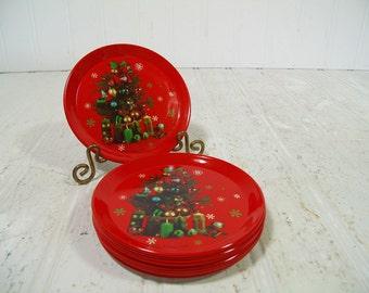 Retro Set of 12 Red on White Enamel Metal Christmas Coasters Collection - Vintage Litho Set of 12 Christmas Trees BoHo Bistro Barware Pieces