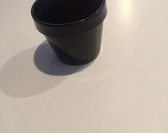 Black Amethyst Glass small flower pot