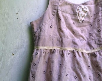 child rustic eco upcycled hand dyed gap eyelet tan cream latte ecru rose vintage lace fairy fashion chic ooak boho sundress
