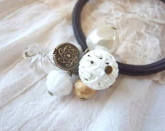 Hair Elastic Vintage lace Ball Bead Antique Style