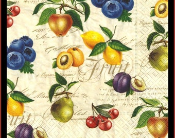Paper napkins set of four, fruit, use for decoupage, scrapbooking or mixed media, craft paper, tissue paper
