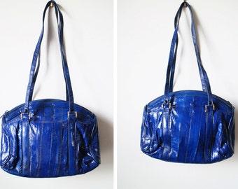 Vintage 80s Cobalt Blue Genuine Eel Skin Bag