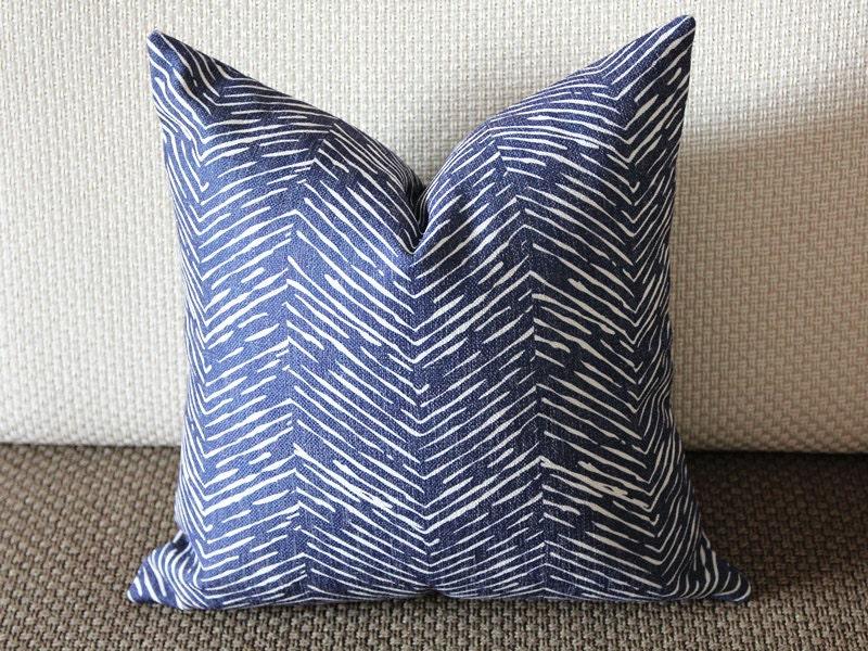 Waves Modern Navy Blue Pillow Cover 16x16 18x18 20x20