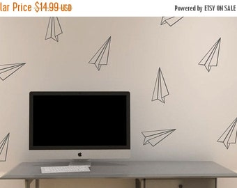 HUGE SALE - Paper Airplane vinyl decals | Set of 12 | paper plane wall stickers