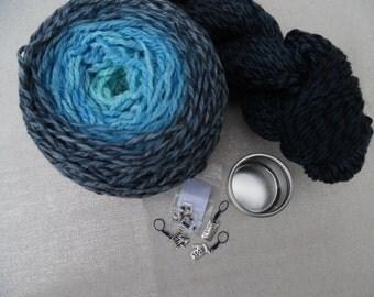 "Poncho or Shawl Kit, 300 gms aran yarn, plus stitchmarkers and pattern, ""Alchemyst"""