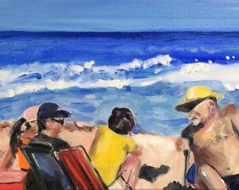 Beach Painting Oil Painting of Beach Scene Family Memories Original Oil Painting by Marlene Kurland 10 x 20
