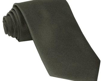 Men's Solid Dark Gray Big & Tall Extra Long Necktie, for Formal Occasions
