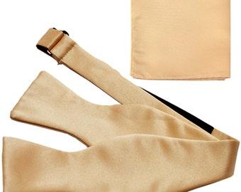 Men's Solid Beige Self-Tie Bowtie and Handkerchief, for Formal Occasions