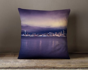 Purple Pillow Seattle Skyline, Orchid Home Decor, Purple Home Decor, Decorative Throw Pillow, Purple Pillowcase