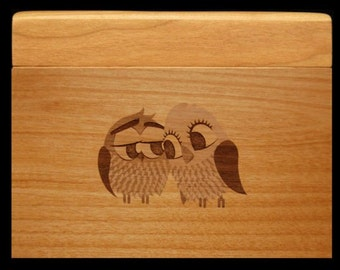 Custom Recipe Box, Personalized Recipe Box, Wood Recipe Box, Engraved Recipe Box, Owls, Recipe Cards