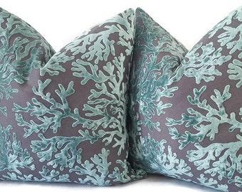 Aqua Velvet Pillow - Aqua Velvet Pillow - Velvet Coral Pillows - Decorative Pillow Cover - Aqua Velvet - Square Pillow - Throw Pillow
