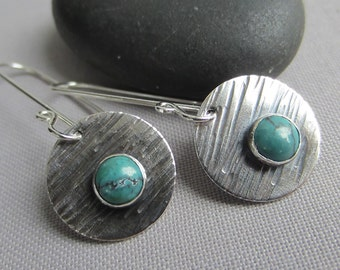 SALE 20% OFF/ Turquoise Earrings/ Metalsmith Earrings/ Texturized Earrings/ Disc Earrings/ Oxidized Silver Earrings/ Turquoise Dangle