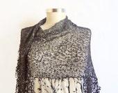 Handmade Crochet Black Shawl-Free Shipping