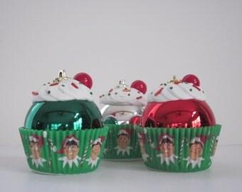 Cupcake Ornaments / Christmas Ornaments / Set of 6