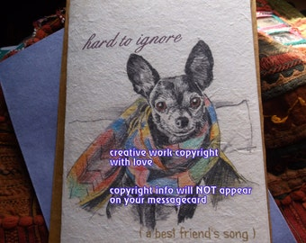 hard to ignore ( a best friend's song ) black chihuahua /chihuahua love/personalize/ storybook/sentimental /unique empathy condolence cards
