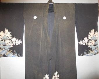 SALE***1920's Kimono //  Black Crepe, Handpainted  //  Shabby Condition