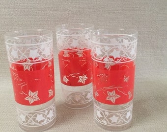 Orange and White Tall Ivy Drinking Glasses Set of 3