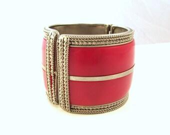 SALE Wide Metal Hinged Bracelet with Red Plastic Inlay - Tribal / Boho Bangle - Huge Clamper Bangle