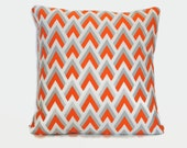 Orange and gray chevron decorative throw pillow. 1 cover for 20x20 cushion insert. Classic pillow retro pillow modern pillow mod cushion