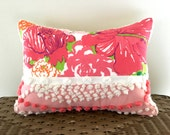pink floral pillow cover BRIGHT BOUQUET pink chenille cushioncover, 12 X 16 pink hibiscus, cottage chic shabby style pillow case, sham