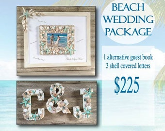 4 PC Alternative Guest Book Package, Beach Wedding Decor Shell Letters, Beach Wedding Package, Wedding Photo Frame, Beach Wedding Decor Set