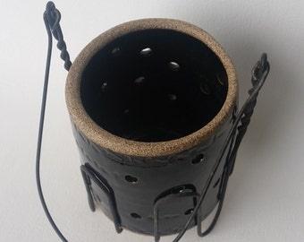 Wheel Thrown Stoneware Pottery Luminary, Patio Light, Garden Light, Tea Light, Wire Canning Holder, Glossy Black