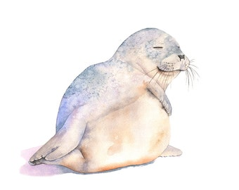 Seal watercolor print, Seal watercolor painting, S4716, A3 size large print, Contemporary Coastal wall art, beach house decor, nursery print