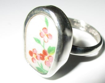 Broken China Ring, Sterling Silver, Pink Flowers, Any Size, OOAK, China Shard, Pottery, Chaney, Floral