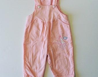 Vintage Pink Sailboat Overalls (12 months)