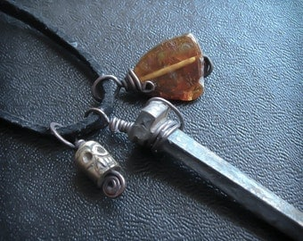 Gothic Mens Necklace. Antique Coffin Nail and Brass Skull Necklace with Garnet. Hoodoo Talisman. The Bound Nail.
