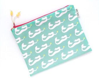 Mermaids Bikini Bag, Aqua Water Resistant Wet Bag, Beach Bag Zipper Pouch, Recycled Canvas, Wipe-able Handmade Gift for Mom, Diaper Mess Bag