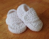 Ready to Ship 9-12 Months White Crocheted Baby Boy Loafer Booties for Baby Blessings Christenings Baptisms Shoes