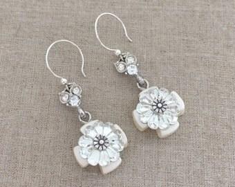 Handmade Rhinestone Cross Earrings - Rhinestone Dangle Earrings - Dangle Cross Earrings - Unique Earrings - Published Design Jewelry Affaire