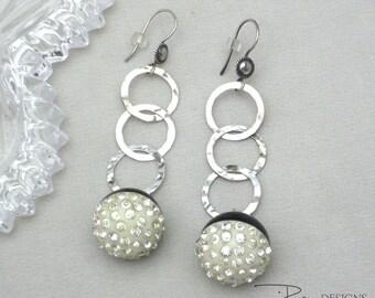 Repurposed Rhinestone Earrings - Dangle Earrings - Sterling Silver Earrings - Unique Repurposed Earrings