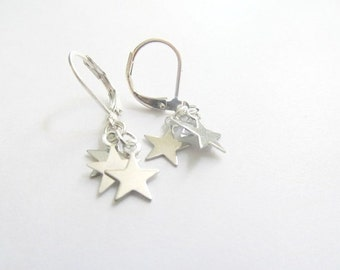 Star Dangle Earrings, shooting stars, cluster star, silver star earrings
