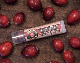 Natural Lip Tint CRANBERRY BLOOD ORANGE Mica Free Red Botanical Lip Color .15oz
