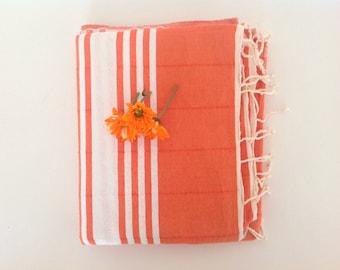 Turkish Towel , Natural Peshtemal, bath, Hammam, spa, valentine's day , gift, orange