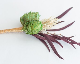 RED BREW Hops Boutonniere Barley and Red leaves
