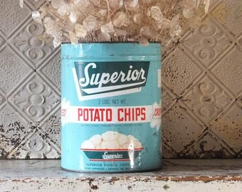 Vintage Potato Chip Can Superior, Aqua Tin