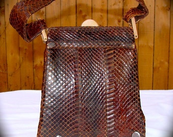 Vintage Purse Snakeskin Cobra Mid Century Mad Men Era Handbag Brown Reptile 1940s 1950s