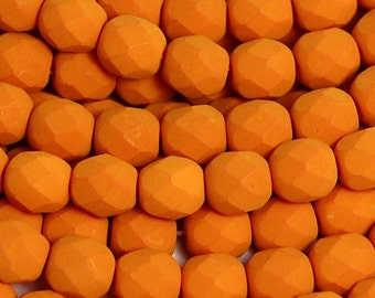 Opaque Saturated Pumpkin Czech Glass Faceted Bead 6mm Round - 25 Pc