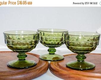 ON SALE Green Sherbert / Ice Cream Glasses, small footed dessert glasses, vintage glassware
