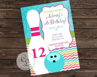 Bowling Party Invite-Bowling Girl Invitation-Bowling Party-Casbury Lane