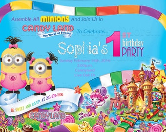 Minions Candy Land Birthday Theme-Minions And Candy Land Birthday Card