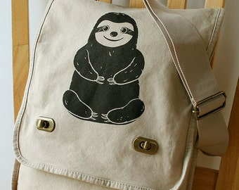 Sloth Field Bag Messenger Bag Canvas Laptop Bag Shoulder Bag